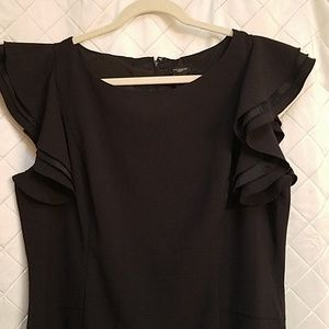 Ann Taylor Factory black lined dress 16